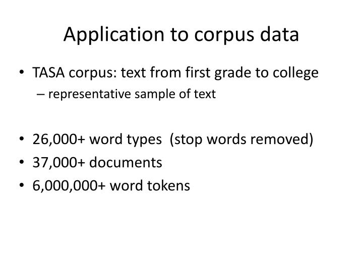 Application to corpus data