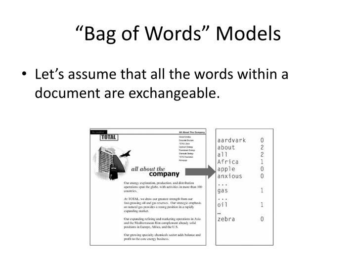 """""""Bag of Words"""" Models"""