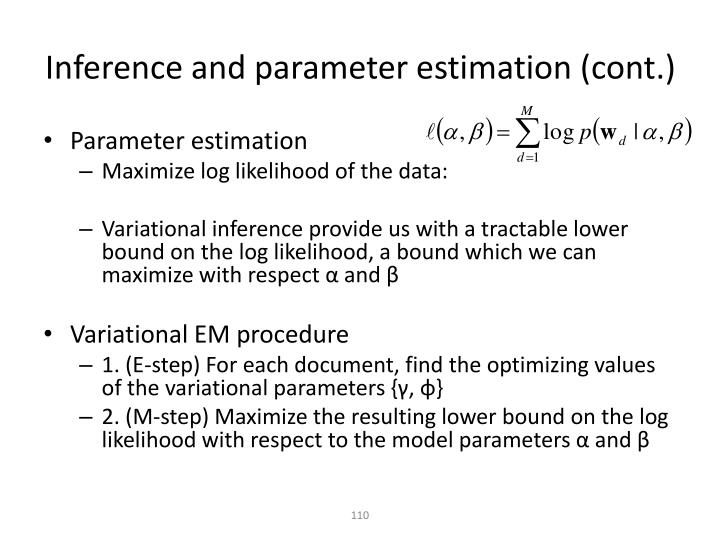 Inference and parameter estimation (cont.)