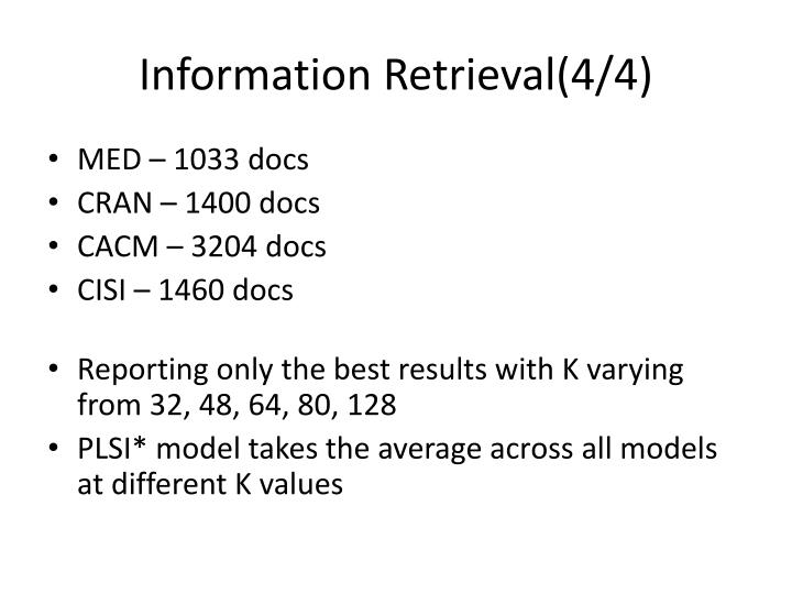 Information Retrieval(4/4)
