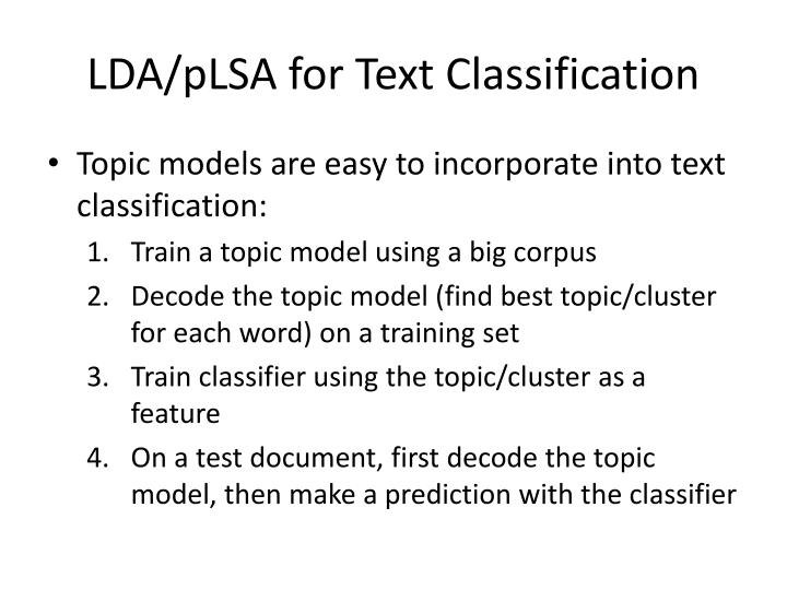LDA/pLSA for Text Classification