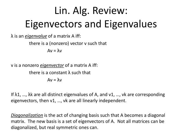 Lin. Alg. Review: