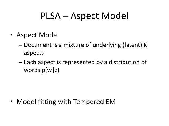 PLSA – Aspect Model