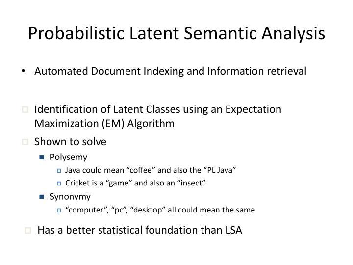 Probabilistic Latent Semantic Analysis