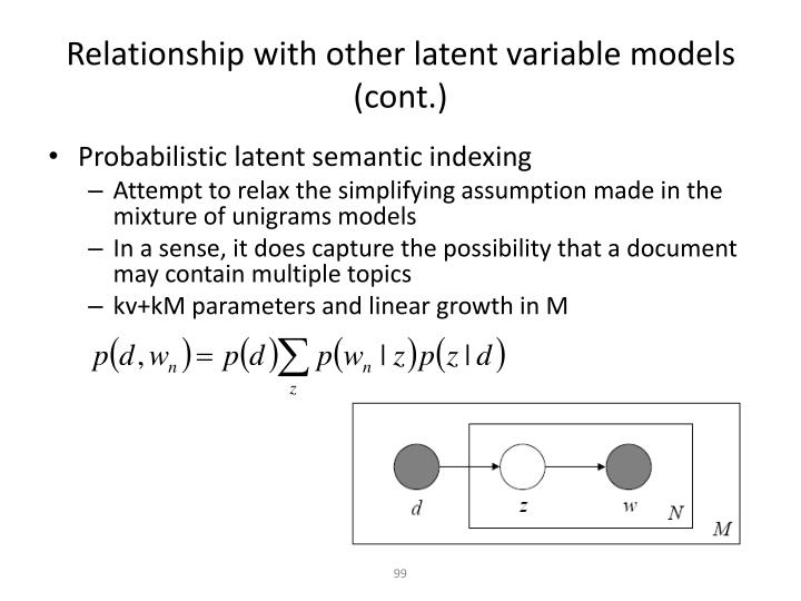 Relationship with other latent variable models (cont.)