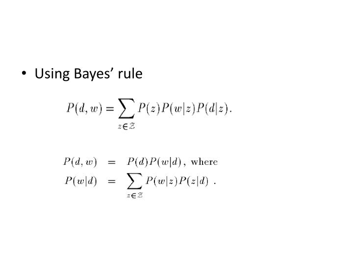 Using Bayes' rule
