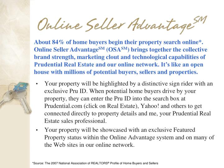 About 84% of home buyers begin their property search online*. Online Seller Advantage