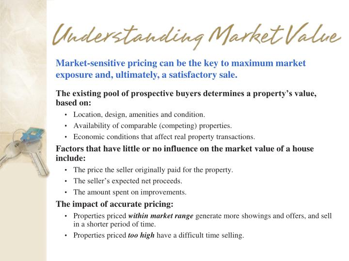 Market-sensitive pricing can be the key to maximum market exposure and, ultimately, a satisfactory sale.