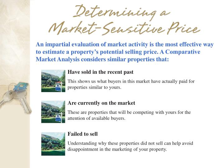 An impartial evaluation of market activity is the most effective way to estimate a property's potential selling price. A Comparative Market Analysis considers similar properties that: