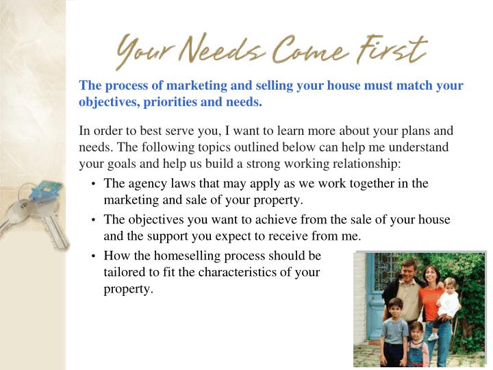 The process of marketing and selling your house must match your objectives, priorities and needs.