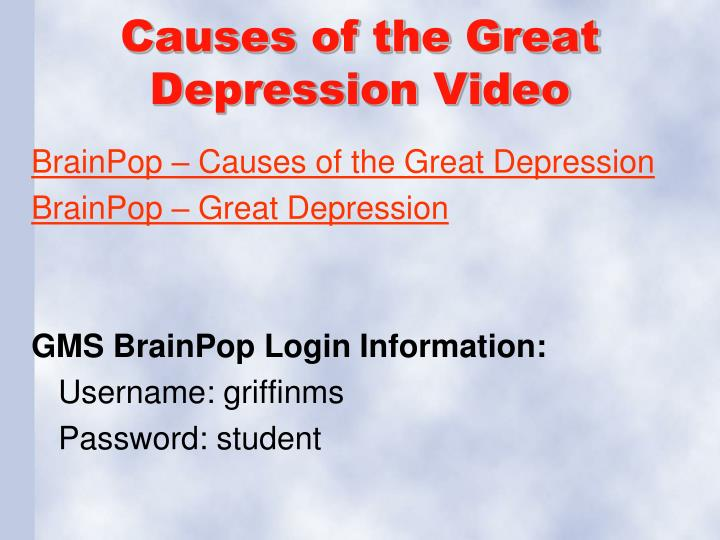 Causes of the Great Depression Video