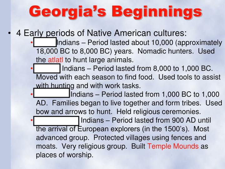Georgia's Beginnings