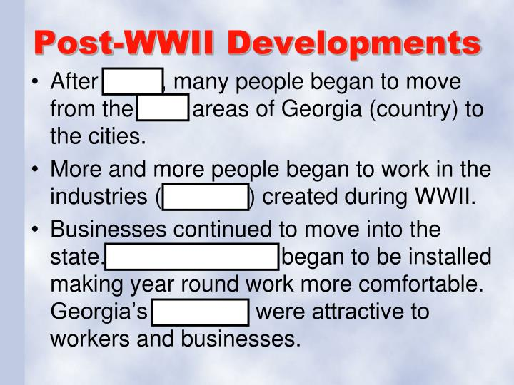Post-WWII Developments