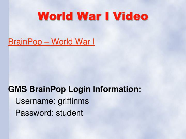 World War I Video