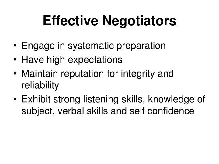 Effective Negotiators