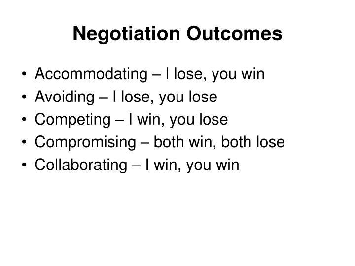 Negotiation Outcomes