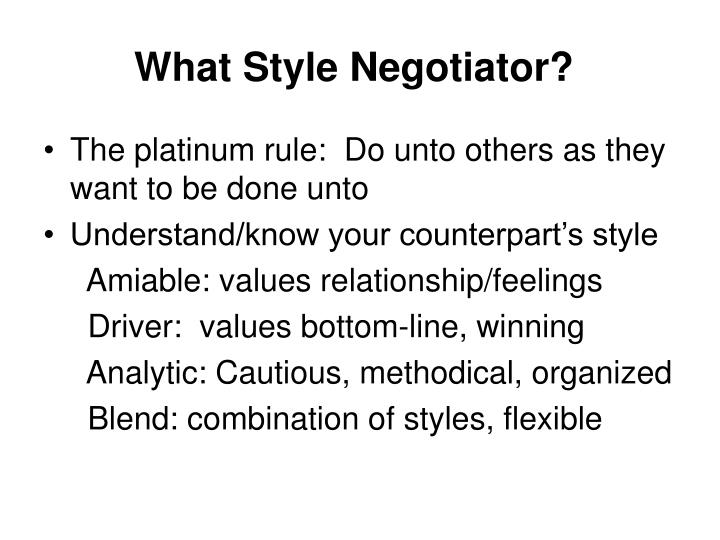 What Style Negotiator?