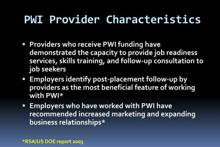 PWI Provider Characteristics