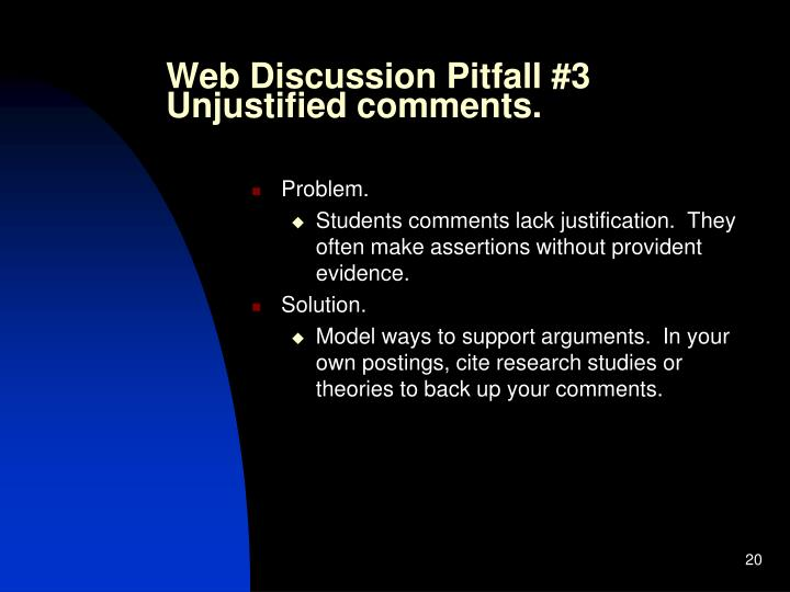 Web Discussion Pitfall #3