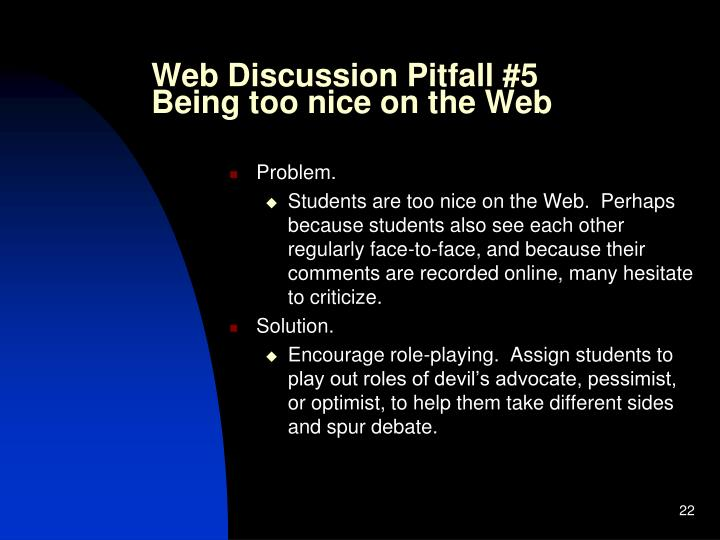 Web Discussion Pitfall #5