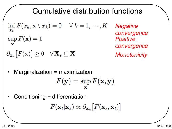 Cumulative distribution functions