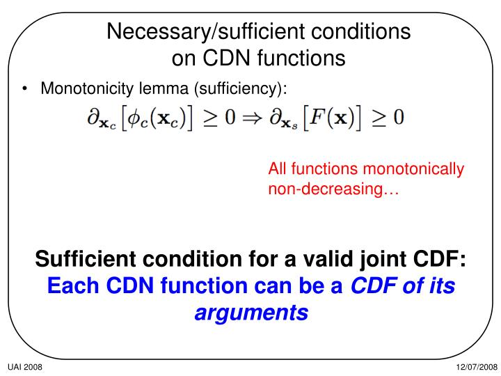 Necessary/sufficient conditions on CDN functions