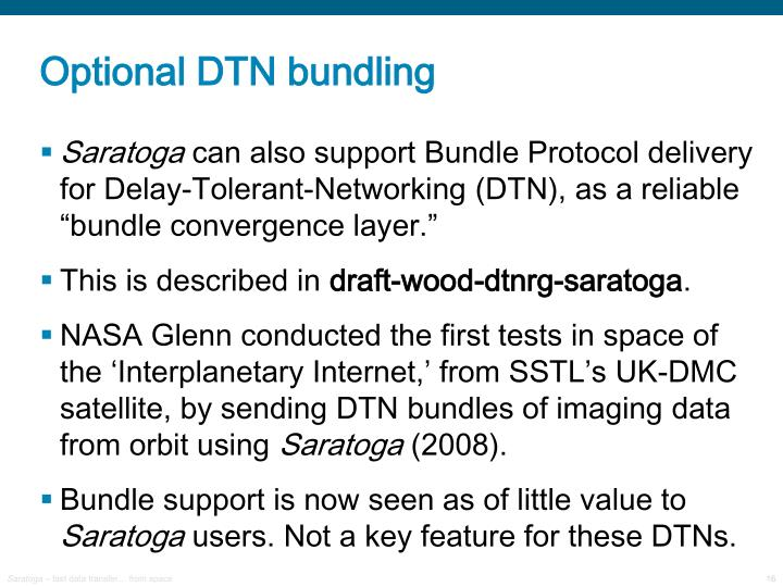 Optional DTN bundling