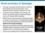 short summary of saratoga