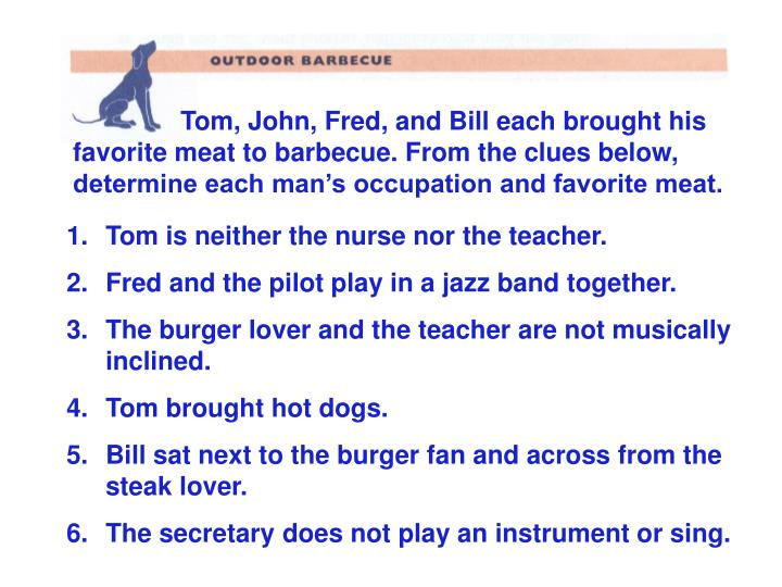 Tom, John, Fred, and Bill each brought his favorite meat to barbecue. From the clues below, determine each man's occupation and favorite meat.