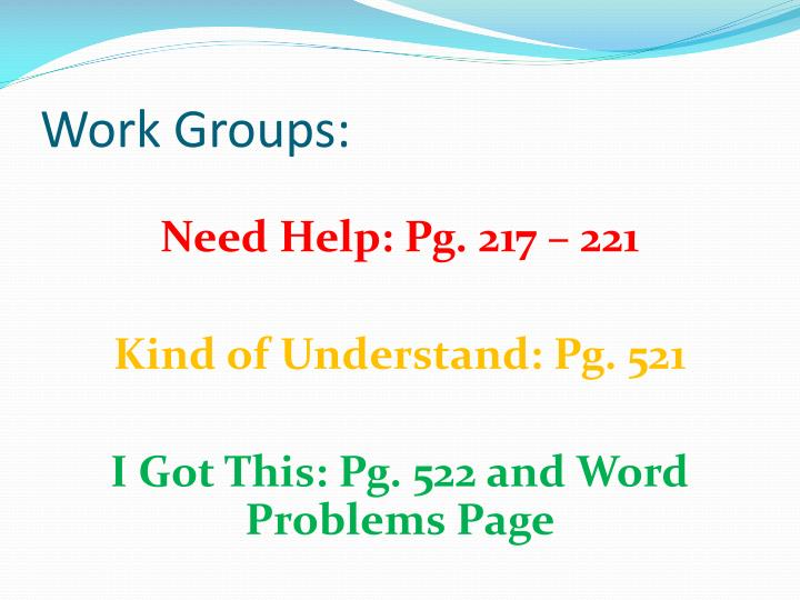 Work Groups: