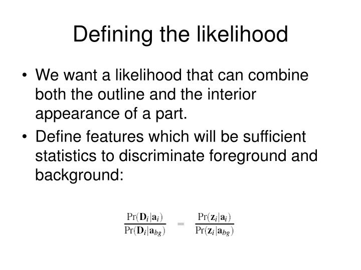 Defining the likelihood
