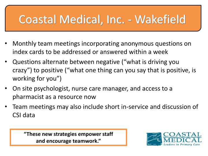 Coastal Medical, Inc. - Wakefield