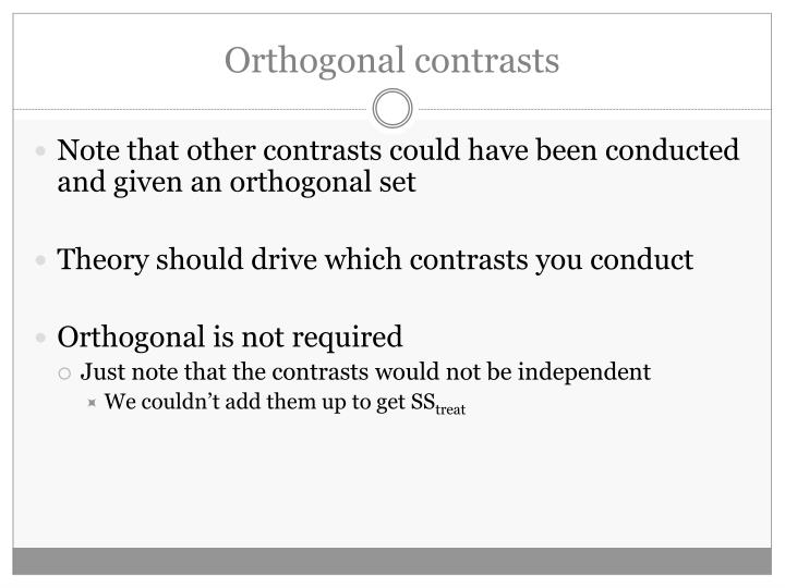 Orthogonal contrasts