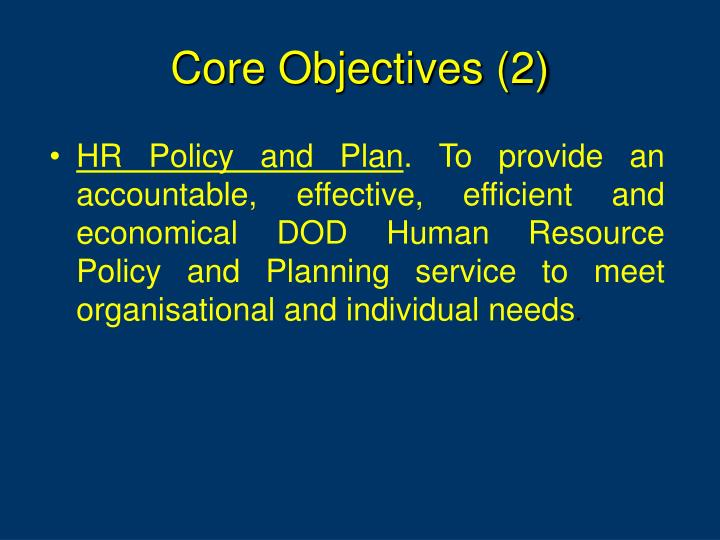 Core Objectives (2)