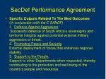 secdef performance agreement