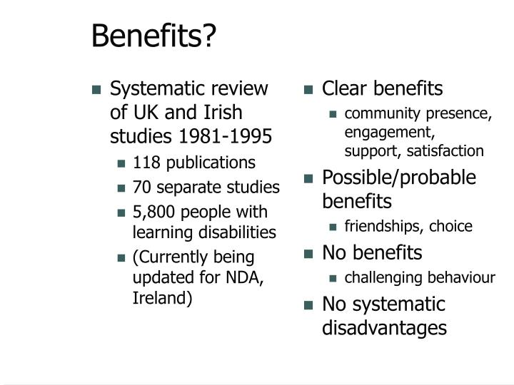 Systematic review of UK and Irish studies 1981-1995