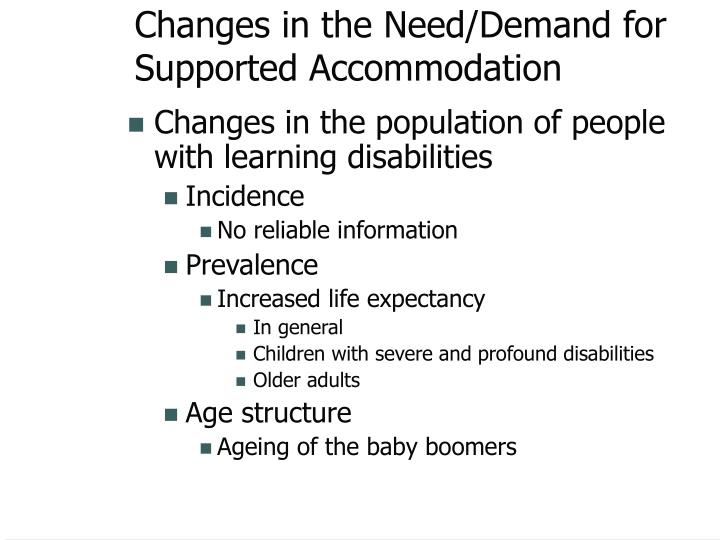 Changes in the Need/Demand for Supported Accommodation