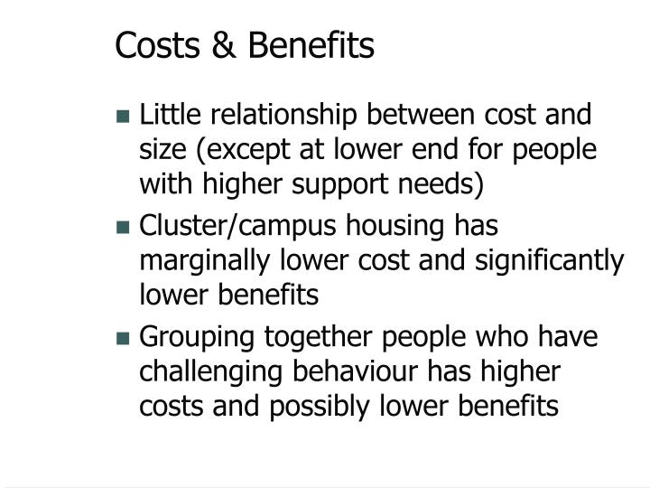 Costs & Benefits