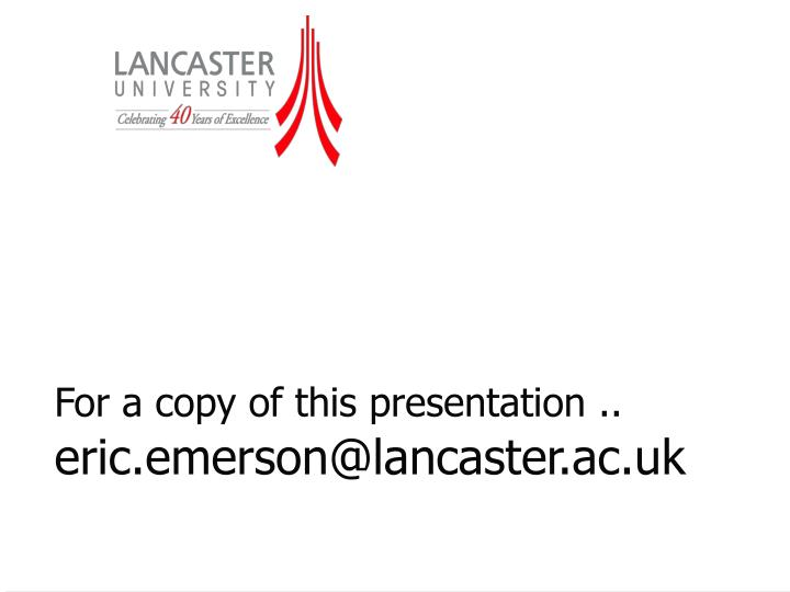 For a copy of this presentation ..
