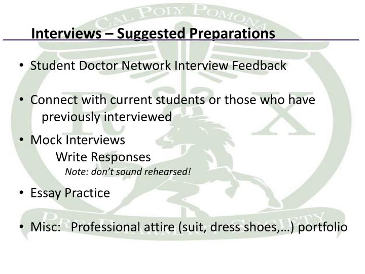 Interviews – Suggested Preparations