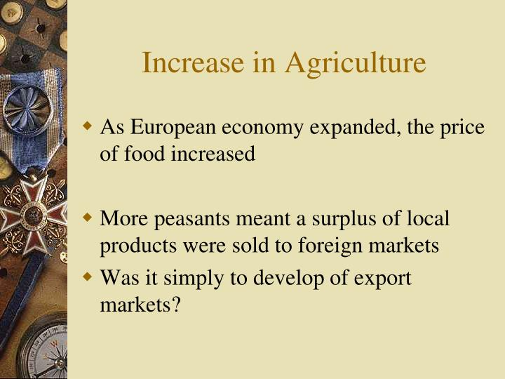Increase in Agriculture