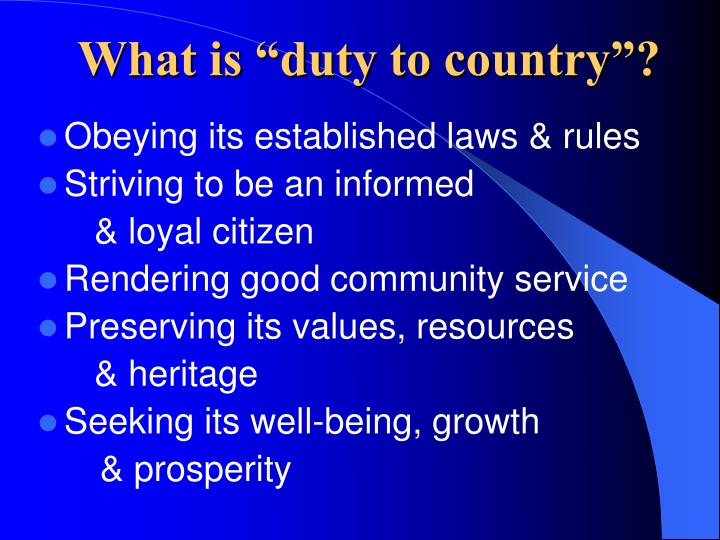 "What is ""duty to country""?"