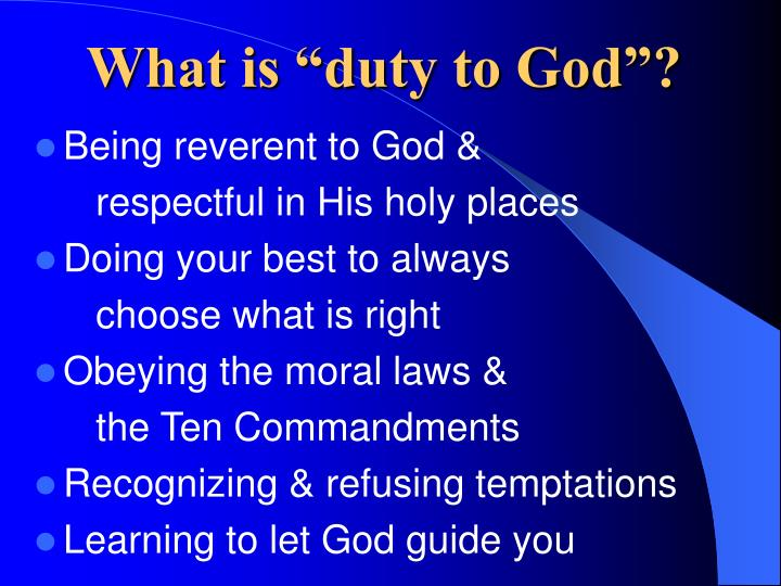 "What is ""duty to God""?"