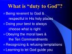 what is duty to god