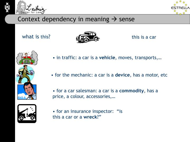 Context dependency in meaning