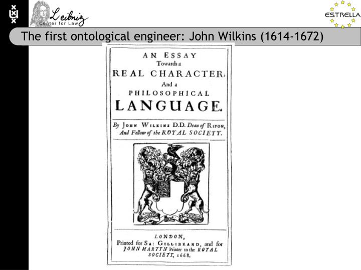The first ontological engineer: John Wilkins (1614-1672)
