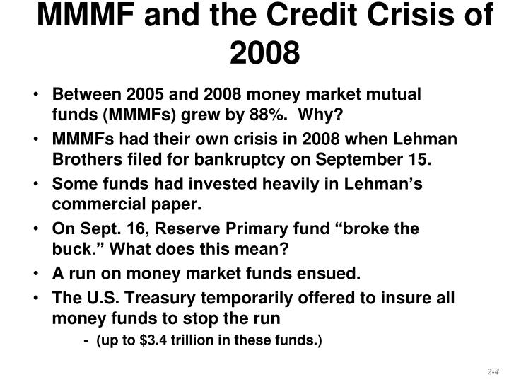 MMMF and the Credit Crisis of 2008