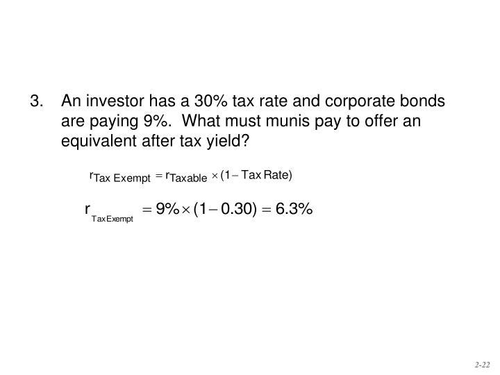 3.	An investor has a 30% tax rate and corporate bonds are paying 9%.  What must munis pay to offer an equivalent after tax yield?