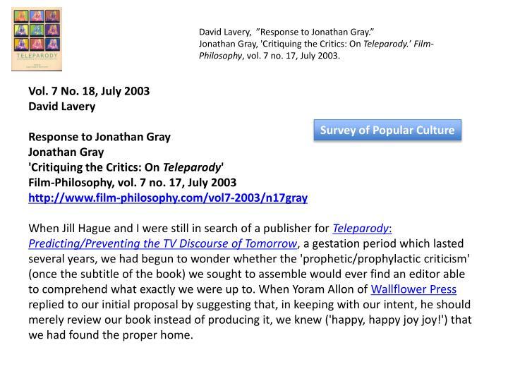 "David Lavery, ""Response to Jonathan Gray."""