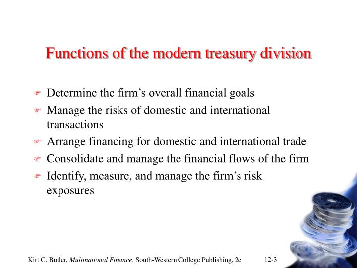 Functions of the modern treasury division